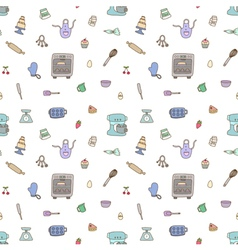 Seamless pattern of baking items vector