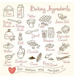 Set drawings of baking ingredients for design vector