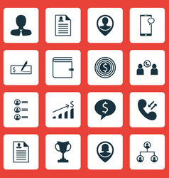 set of 16 management icons includes tournament vector image