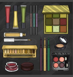 Set of eyeshadow products vector