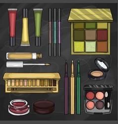set of eyeshadow products vector image
