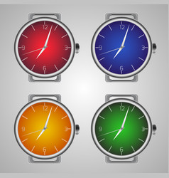 Set of realistic wrist watches multicolored clock vector