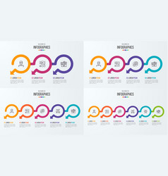 Set of timeline infographic templates with vector