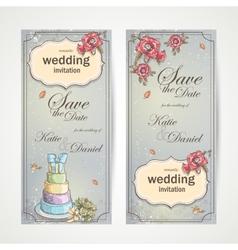 set vertical banners wedding invitations vector image