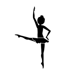 silhouette dancer fourth position developed vector image