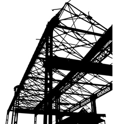 Silhouette of an old factory in black and white vector