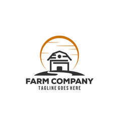 Simple barn logo designs with sun background vector