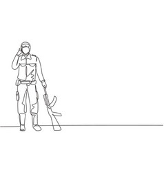 Single continuous line drawing soldier stands vector