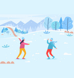 Snow fight people playing outdoors in winter vector