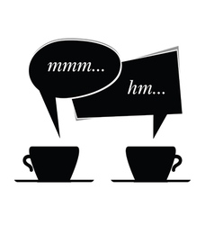 Speech bubble with cup of coffee in black vector