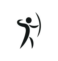 Sports icon of archery monochrome vector