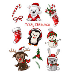 stickers cute baby animals on christmas wear vector image
