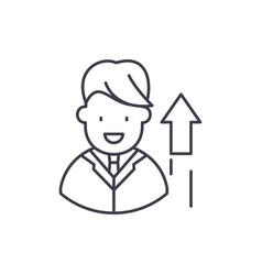 successful manager line icon concept successful vector image