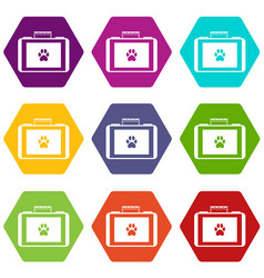 suitcase for animals icon set color hexahedron vector image