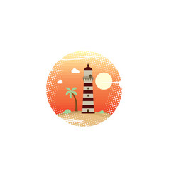Summer holidays beach lighthouse sign symbol vector