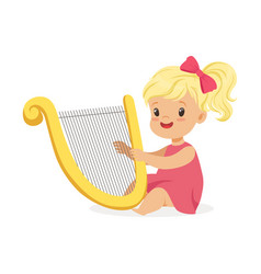 Sweet little blonde girl playing harp young vector
