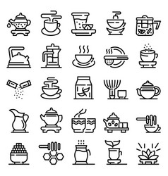 Tea ceremony icons set outline style vector