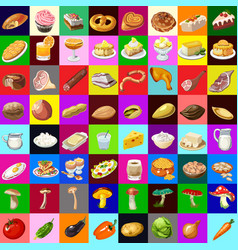 the group set delicious vegetable and meat food vector image