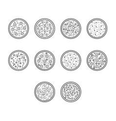 Thin line pizza icon set vector