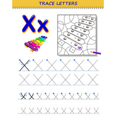 Tracing letter x for study alphabet printable vector