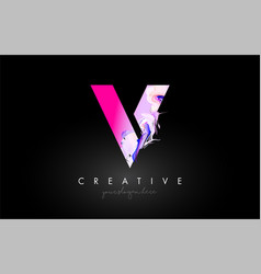 V letter artistic purple paint flow icon logo vector