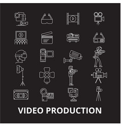 video production editable line icons set on vector image