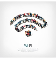 wi-fi people crowd vector image