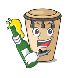 With beer conga mascot cartoon style vector