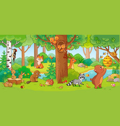 With cute forest animals vector