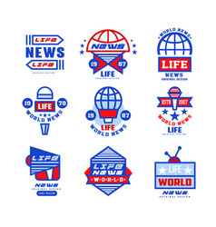 world life news logo original design set social vector image