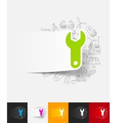 wrench paper sticker with hand drawn elements vector image