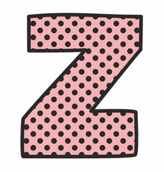 Z alphabet letter with black polka dots on pink vector