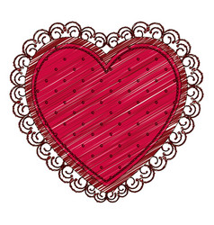 color pencil drawing of heart with decorative vector image vector image