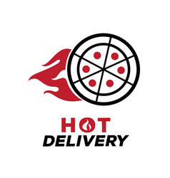 hot delivery pizza logo with fire vector image vector image