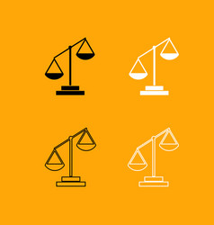 law scale black and white set icon vector image vector image