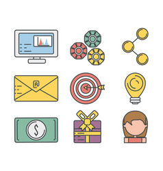 set technology information icons service vector image