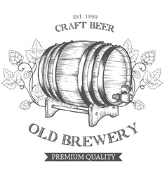 Wooden craft beer oktoberfest old brewery vector image