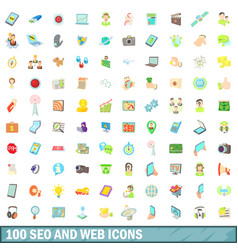 100 seo and web icons set cartoon style vector image