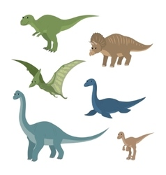 Cartoon set diplodocus plesiosaur pterosaur vector