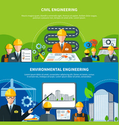 civil engineering banners set vector image vector image