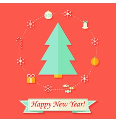 Happy New Year Card with Christmas Tree over Red vector image vector image