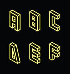 Neon yellow letters a b c d e f on black color vector