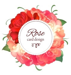 Postcard with a round frame of roses vector image