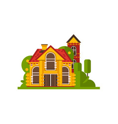 rural cottage countryside building vector image