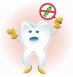 tooth protesting against candies vector image vector image