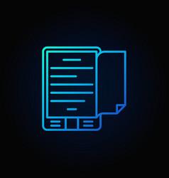 blue e-book reader concept icon vector image vector image
