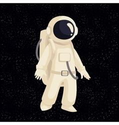 Cartoon astronaut in open cosmos vector image
