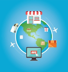 E-commerce Shopping online all over the globe vector image vector image