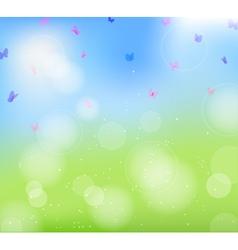 field flowers butterfly vector image