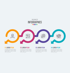 four steps timeline infographic template with vector image